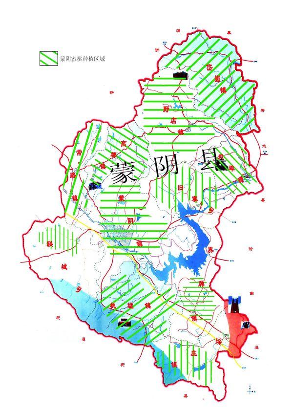 蒙阴蜜桃种植区域分布图